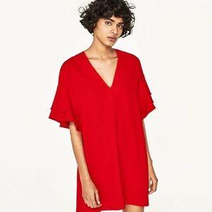 🔥Zara Red frilled sleeve pull over midi dress🔥